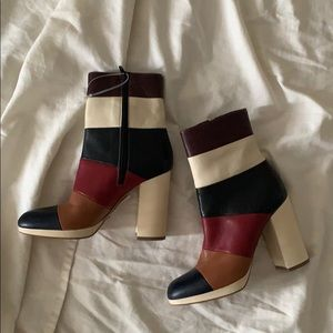 NEW Valentino Garavani Striped Colorblock Bootie 5